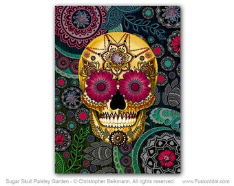 Paisley Sugar Skull 30x40 Art Canvas - Sugar Skull Paisley Garden - Modern Day of the Dead Art Canvas