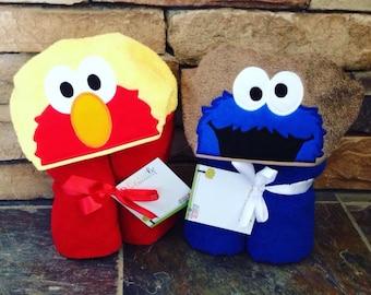 Cookie Monster or Elmo Inspired Hooded Towel