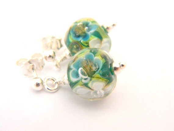 Rainforest Tiny Earrings - Lampwork Glass and Sterling Silver