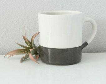 Modern Mug Grey and White - 12 Ounce Pottery Mug - Colorblock Mug Grey White - Straight Sided Mug with Handle - Cylinder Mug - Handmade Mug