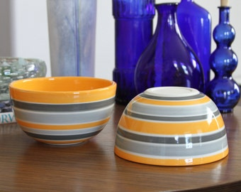 MOVING SALE Orange Ceramic Bowl Stripes Grey, Modern Pottery Bowl