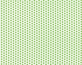 Sundrops - Dotted in White and Celery Green: sku 29016-18 cotton quilting fabric by Corey Yoder for Moda Fabrics - 1 yard