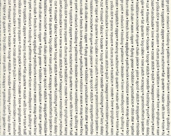 Handmade - Text Print in Black and Cream: sku 55147-17 cotton quilting fabric by Bonnie and Camille for Moda Fabrics - 1 yard