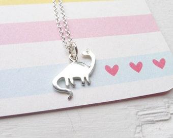 Dinosaur Necklace Brontosaurus Pendant Dino Charm Prehistoric Love Jewelry Rawr