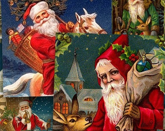 Victorian Christmas Postcards in 1.5 inch squares -- piddix digital collage sheet no. 431