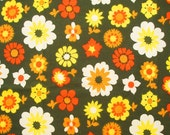 "vintage 60s 70s flower power fabric in jade and scarlet 43"" wide"