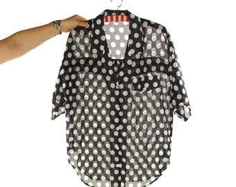80s Sheer Cotton Blouse / Vintage 1980s Black & White Graphic Polka Dot Novelty Print Shirt / Short Sleeve Boxy Oversized Top / S M L