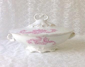 Covered Vegetable Dish, Antique Oliver China Pink Floral Casserole, Vintage Serving, Marked France