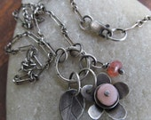 Pink Flower Necklace Silver Flower Charm Cluster Pink Gemstone Pendant Pink Flower charm Necklace Teen Gift Boho Silver Jewelry
