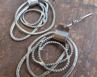 Large Silver Hoop Earrings Long Silver Hoops Funky stamped silver Earrings Long Dangling Earrings Silver Dangle Earrings