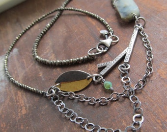 Short Silver Necklace Fall Leaf Charm Necklace Silver Sparkly Pyrite Autumn Necklace Gold Keum Boo Jewelry Silver Multi Chain Necklace Fall