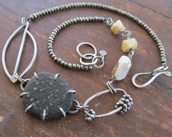 Silver Beach Stone Short Necklace Pyrite Yellow Opal Graphic Leaf Choker Statement Necklace
