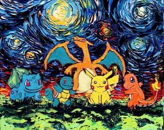 Pokemon Art - Starry Night CANVAS print van Gogh Never Battled Aja 8x8, 10x10, 12x12, 16x16, 20x20, 24x24, 30x30 choose