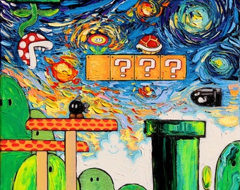 Super Mario Art - Nintendo Starry Night print van Gogh Never Played With Fire by Aja DIGITAL DOWNLOAD