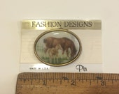 Mother and Foal Horse Vintage Fashion brooch