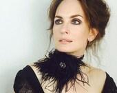 Gypsy Rose Feather Satin Boho Collar Sequins Black Headband