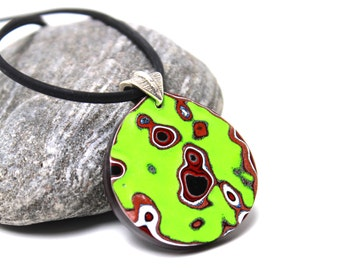 Detroit Fordite Necklace Recycled Vintage Auto Paint Teardrop Chartreuse Green Metallic Silver Medallion Sterling Red White Poison Apple Hot