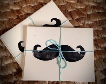 Set of 4 Mustache Note Cards