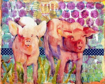 pig art | pig artwork | farm art | pig painting | mixed media art | collage art | animal art | watercolor animals pink purple farm paintings