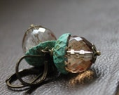 Acorn Earrings, Woodland Inspiration, Vintage Style, Patina Brass and Champagne Glass, Boxing Day Sale