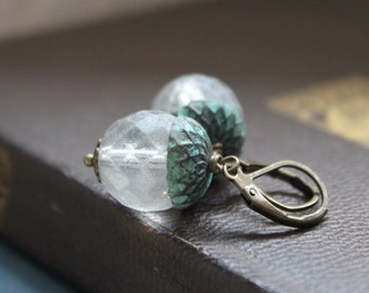 Frosted Acron Earrings, Patina Brass and Matte Glass Beads, Winter Woodland, Boxing Day Sales