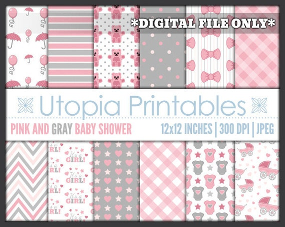 Pink gray baby shower digital paper pack girl party theme for Themed printer paper