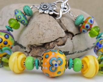 In My Garden Handmade Lampwork Bead Bracelet with FREE Earrings