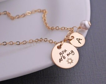 You are my Sunshine Necklace, Custom Gold You are my sunshine Jewelry gift for Granddaughter, Gift for Daughter