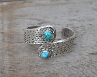 Turquoise and Silver Bracelet Cuff - Royal Hill Vintatge