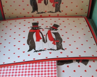 Vinyl Hong Kong Penguin Placemats Vintage Plastic Laminated Red Gingham Reverse Side Set of 4