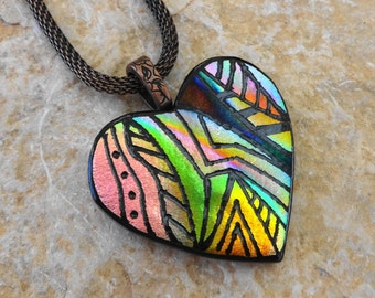 Valentine Jewelry, Pink and Gold Dichroic Heart, Dichroic Fused Glass Hand Etched Pendant, Fused Glass Heart Pendant, Zentangle Pendant
