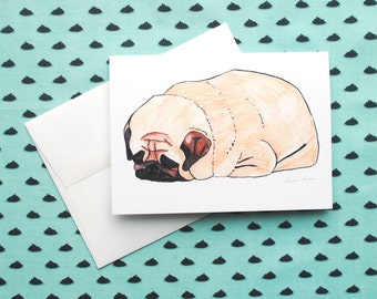 Pug Card, Get Well Soon Card, Get Well Card, Pug Gift, Pet Sympathy Card,Funny Greeting Cards, Greeting Cards, Blank Cards with Envelopes