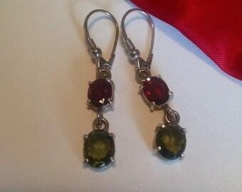 SALE TODAY Long Vintage Estate Gem Stone Earrings Red Garnet Green Peridot Sterling Silver