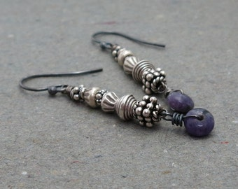 Purple Spurrite Earrings Sterling Silver Earrings Tribal Earrings Long Earrings Oxidized Purple Gemstone Earrings