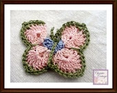 Crocheted Butterfly Applique, Pink, Green, Blue Ready to Ship