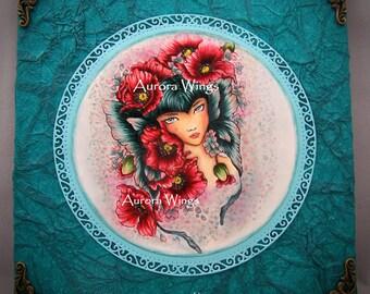 Poppy Fairy with Butterfly Wing Ears OOAK Handmade Mixed Media Wall Art