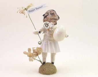 "READY TO SHIP Vintage Inspired Spun Cotton ""Miss Woolly"" Spring and Easter Figure Ooak"