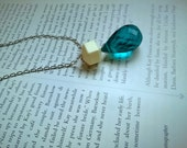 silver necklace with white and teal pendant - blue crystal tear drop - vintage beaded pendant - long geometric necklace - brooke necklace