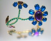 "Large over 3""  Blue Green Purple Rhinestone Flower Pin Brooch Vintage"