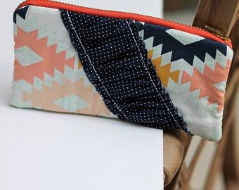 Coral and Navy pencil pouch. Aztec wallet, zipper pouch. Metal zipper.  journal bible bag or supplies and pencil case. -Ready to ship