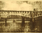 Bridges on the Mon original hand printed zinc plate photo transfer etching, Pittsburgh