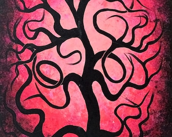 Pink twisted tree, Tree ART, Original Acrylic painting, Fine art  by Jordanka Yaretz