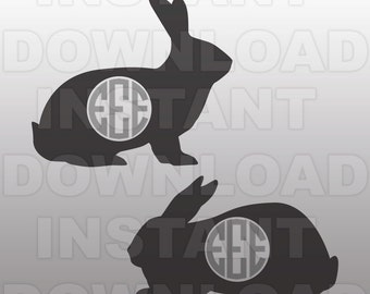 Bunny SVG File,Bunny Monogram SVG File-Cutting Template-Vector Clip Art for Commercial & Personal Use-Cricut,Cameo,Silhouette,Cut File