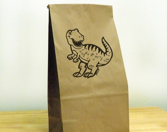 5 - Dinosaur Gift Bags,brown paper bags,birthday party supplies,food storage bag,lunch container bag,kitchen storage,party bags,kids lunch