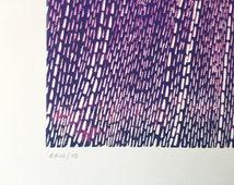 Rain // 12 - Original Linocut Print - OOAK - 30x45 cm // Open Edition // Numbered Series