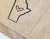 Winnipeg Manitoba heart kitchen dish towel. Silk screened cotton tea towel.