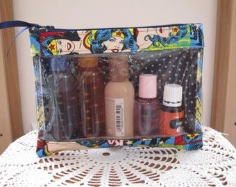 Medium Clear Front Travel Purse First Aid Organizer for Backpack  Diaper Bag Travel Essential oils case Wonder Woman Made in USA