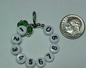 Emerald Green 10 Row Counter Stitch Marker - US 10 - Item No. 601