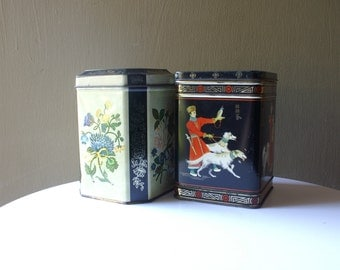 Vintage Asian Inspired Biscuits Tea Coffee Tins, Dogs Flowers