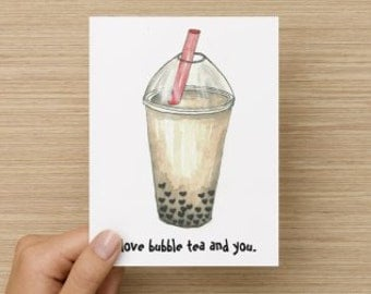 I Love Bubble Tea and You Recycled Paper Folded Greeting Card